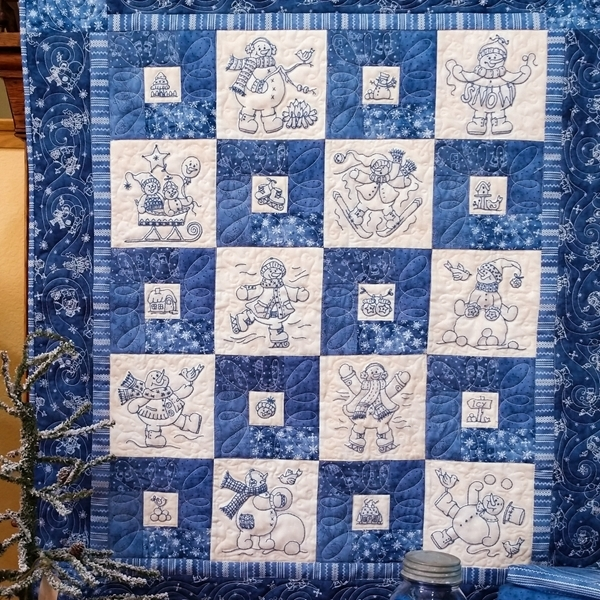 Beautiful frolicking roly poly hand embroidery snowmen quilt 1176 10 Cool Hand Embroidery Quilt Patterns