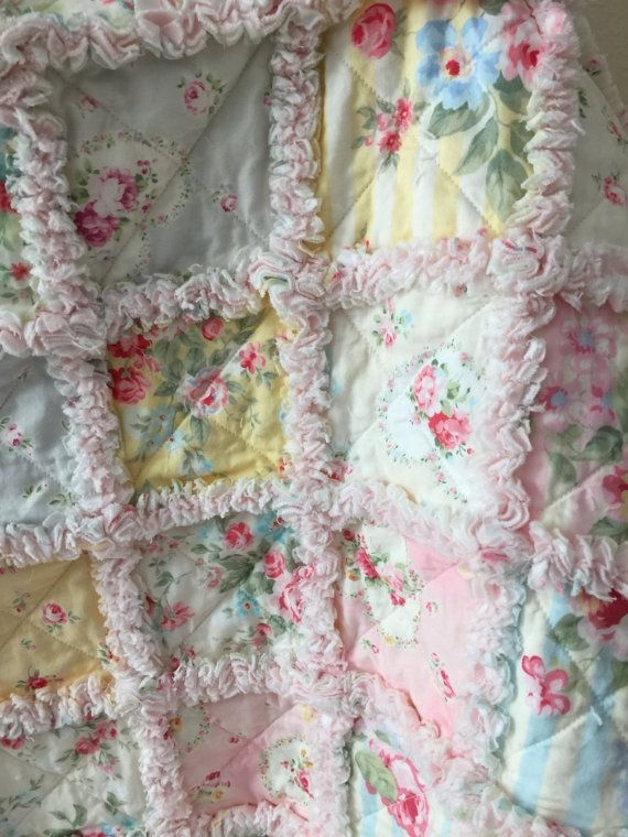 Cozy beautiful rag quilt made from high quality quilt fabric in 11 New Shabby Chic Quilt Patterns Inspirations