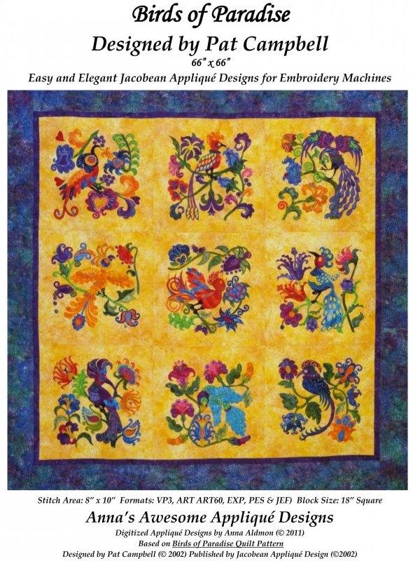 Cozy birds of paradise Stylish Pat Campbell Applique Quilt Pattern