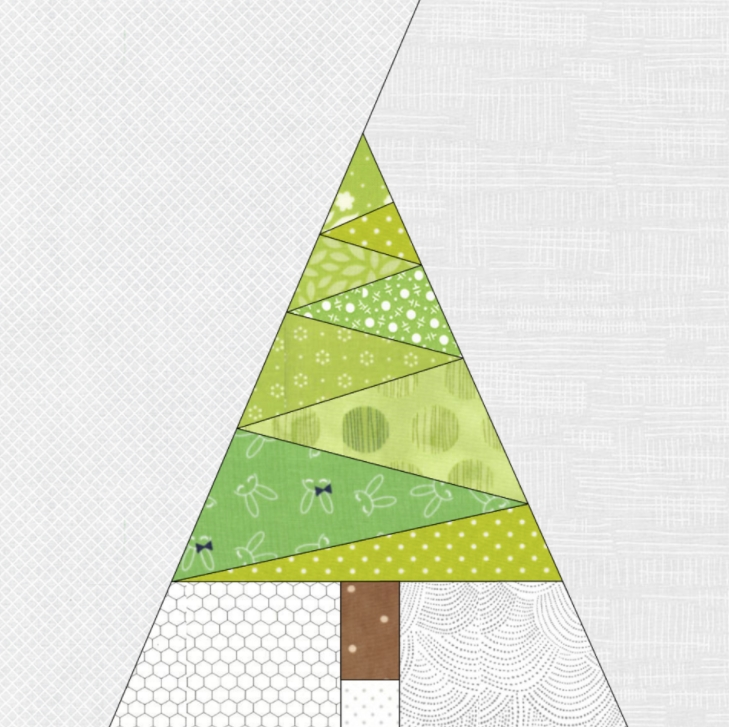 Cozy free quilt pattern geometric christmas tree paper pieced 10 Cool Pieced Tree Quilt Patterns Inspirations