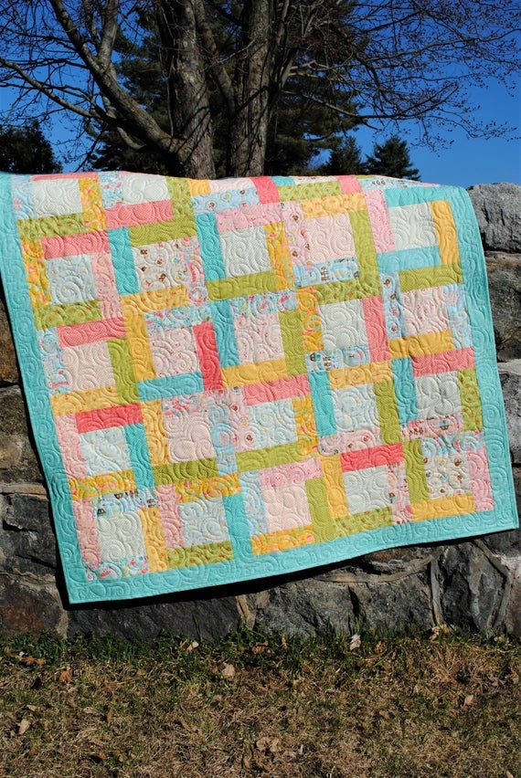 Elegant patchwork quilt pattern ba lap twin full queen king jelly roll layer cake or fat quarter or scrapshappy day Patchwork Quilt Patterns