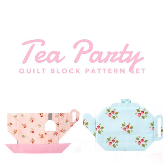 Elegant set of 2 tea party quilt block patterns teacup and teapot instructions for 6 inch and 12 inch blocks 15 savings 10 Beautiful Teapot And Teacup Patterns For Quilt Blocks