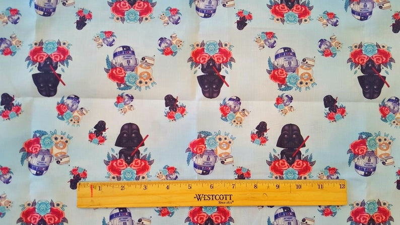 Elegant star wars ba inspired fabric darth vader bb8 r2d2 18 x 18 make mouse ears hair bows headbands ba bibs quilt squares 9   Unique Star Wars Quilting Fabric Inspiration Gallery