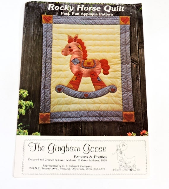 gingham goose rocky horse crib quilt pattern machine or hand applique rocking horse craft pattern gwen andrews uncut itsyourcountry 10 Cool Rocking Horse Quilt Pattern