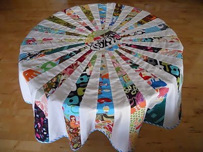 great tutorial on how to make round quilted tablecloth or 10   Quilted Tablecloth Patterns Gallery