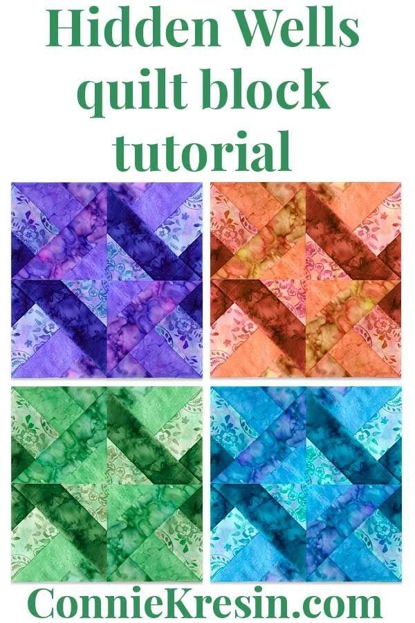 Interesting quilt block hidden wells tutorial in 2020 quilt block 10 Interesting Hidden Wells Quilt Pattern Inspirations
