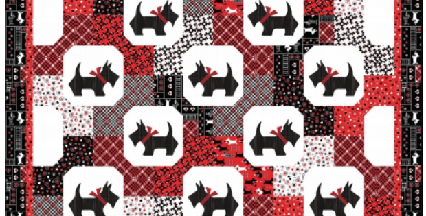 Modern bowtie blocks with scottie dogs in a snowball quilting cub 9 Beautiful Scottie Dog Quilt Pattern Gallery