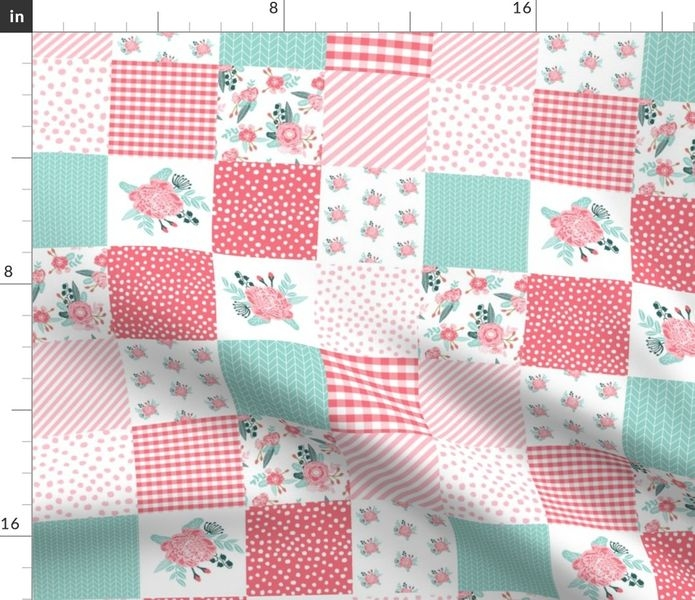 Modern fabric the yard peonies quilt top wholecloth quilt cheater quilt fabric girls quilts quilters 9 Beautiful Cheater Quilt Fabric Inspirations