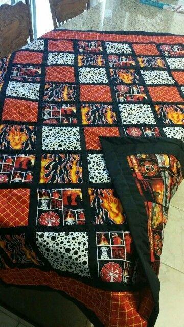 Modern fireman masculine quilt fireman quilt fall decorations 11 Modern Firefighter Quilt Patterns