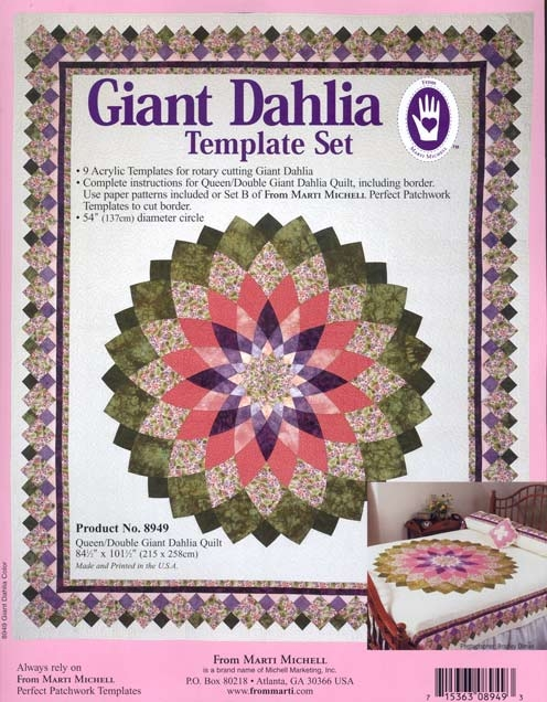 Modern from marti michell giant dahlia template set 10 Cozy Giant Dahlia Quilt Pattern Gallery