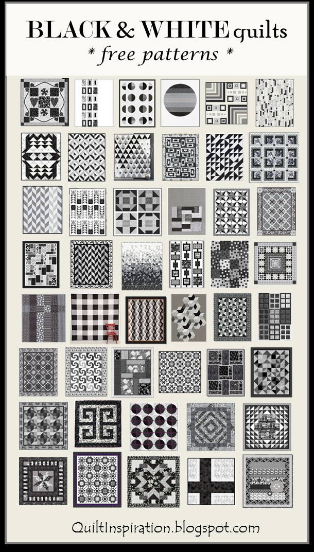 Modern quilt inspiration free pattern day black and white quilts New Black And White Quilt Block Patterns Gallery