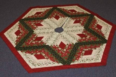 New diamond log cabin christmas tree skirt pattern from quilt in a day 11 Elegant Tree Skirt Quilt Patterns Inspirations