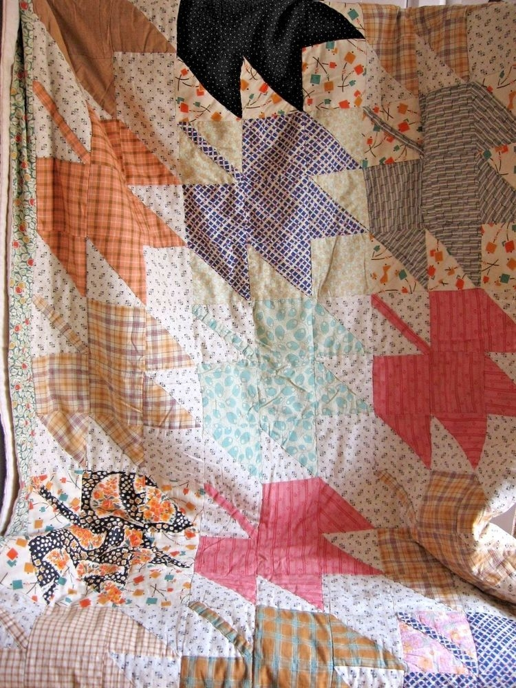 New vintage finished quilt maple leaf 1920s 1930s hand quilted 11 Cool 1920'S And 1930'S Vintage Quilt Patterns