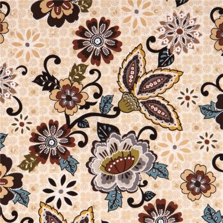 Stylish cream flower ornament priscilla fabric blank quilting usa kawaii fabric shop 11 New Blank Quilting Fabric Inspirations