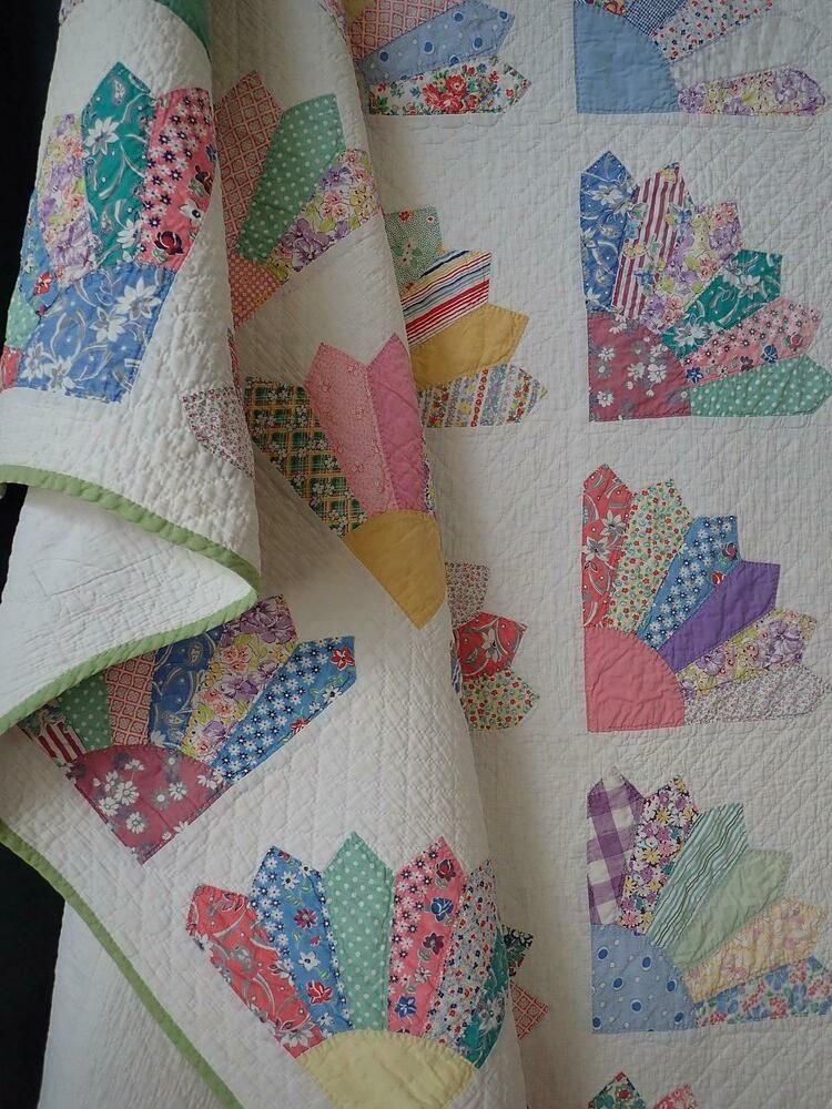 Stylish gorgeous quilting fabrics vintage 1930 cottage fan quilt 9 Beautiful Vintage Quilting Fabrics For Sale Gallery