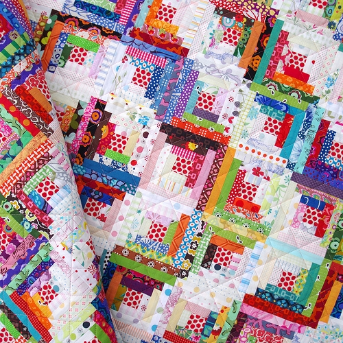 Stylish red pepper quilts step back in time 9   Scrappy Log Cabin Quilt Pattern