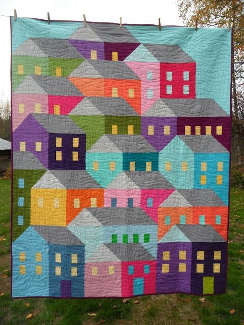 Unique on the design wall house quilt patterns colorful quilts 9 Beautiful House Quilt Pattern