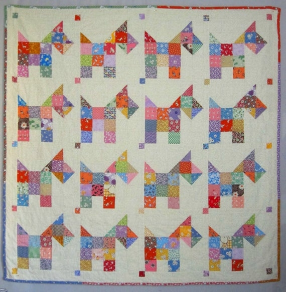 Unique scotties vintage quilt pattern from quilts elena 9 Interesting Vintage Quilt Patterns Pictures Inspirations