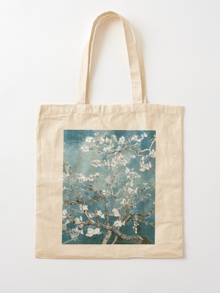 vincent van gogh almond blossoms teal elegance tote bag Interesting Elegant Van Gogh Quilting Fabric Ideas Gallery