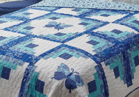 beautifully butterfly log cabin in paisley blue and white Log Cabin Variations Quilt Patterns Inspirations