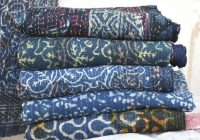 blue indigo kantha quilt vintage indigo kantha throw natural color indigo sari kantha blanket vegetable dyed kantha bedspread 5 pcs lot Vintage Indigo Quilt Gallery