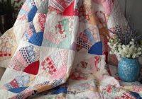 Cool beautiful vintage 30s fans quilt 80×60 blue feedsacks 11 Interesting Vintage Quilt Kits Gallery