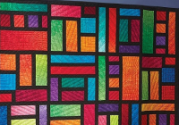 Cool vivid hues make a stunning stained glass window quilt 11   Stained Glass Window Quilt Pattern Gallery