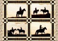 cowboy silhouette quilt block set horse quilt Unique Silhouette Quilt Patterns