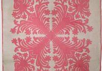 Cozy hawaiian applique vintage quilt pink and white 11 New Hawaiian Applique Quilt Patterns