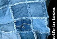 denim rag quilt made from thrift store jeans 10 Interesting Denim Rag Quilt Patterns