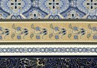 Elegant cotton quilt fabric kumera border stripe blue tan colonial asian 9 Elegant Asian Quilt Fabric Gallery