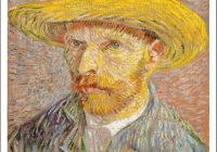 Elegant van gogh self portrait with a straw hat print Interesting Elegant Van Gogh Quilting Fabric Ideas Gallery