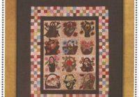 garden baskets flowers wool applique primitive gatherings quilt pattern Modern Primitive Gatherings Quilt Patterns