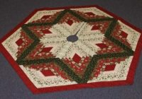 Interesting diamond log cabin christmas tree skirt pattern from quilt in a day Cozy Quilted Tree Skirt Pattern Inspirations
