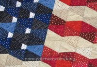 make this patriotic tumbler flag quilt with one template Cozy American Flag Quilt Pattern