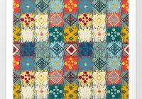 Modern boho geometric patchwork quilt pattern art print robincurtiss Patchwork Quilt Patterns
