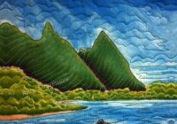 new bali hai beach fabric quilt square hawaii tropical paradise coastal kauai panel New Bali Fabrics Quilting
