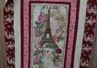 New handmade modern quilt paris eiffel tower shab elegant chic 11 Modern Stylish Quilting Treasures Fabric