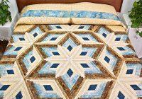 New pastel blue and gold diamond star log cabin quilt c jean horst 11 Cool Diamond Log Cabin Quilt Patterns Free Inspirations