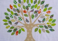 New red pepper quilts family tree raw edge applique 9 Modern Family Tree Quilt Pattern Gallery