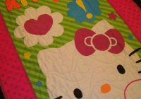 panel quilt made with hello kitty fabric panel quilts Hello Kitty Quilt Block Patterns Gallery