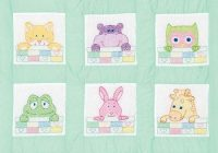 peek a boo nursery quilt blocks stamped cross stitch kit Interesting Jack Dempsey Needle Art Baby Quilts