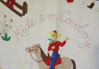 ride em cowboy 1950s quilt sold cindy rennels antique quilts Interesting Vintage Cowboy Quilt Gallery