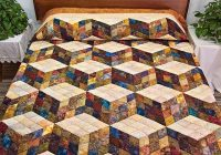 tumbling blocks quilt lovely hand painted batik style Unique Tumbling Blocks Quilt Patterns