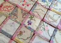 vintage embroidery quilt in progress sew much fabric Elegant Embroidered Quilts Patterns Inspirations