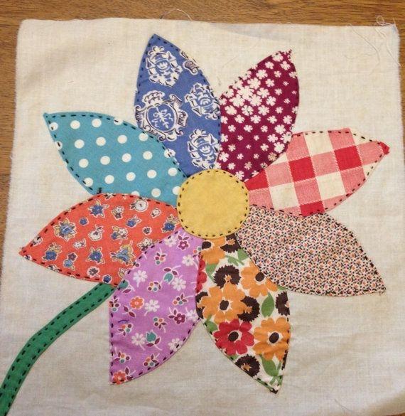 2 vintage sunflower appliqued quilt blocks hand Stylish Vintage Applique Quilt Patterns Inspirations