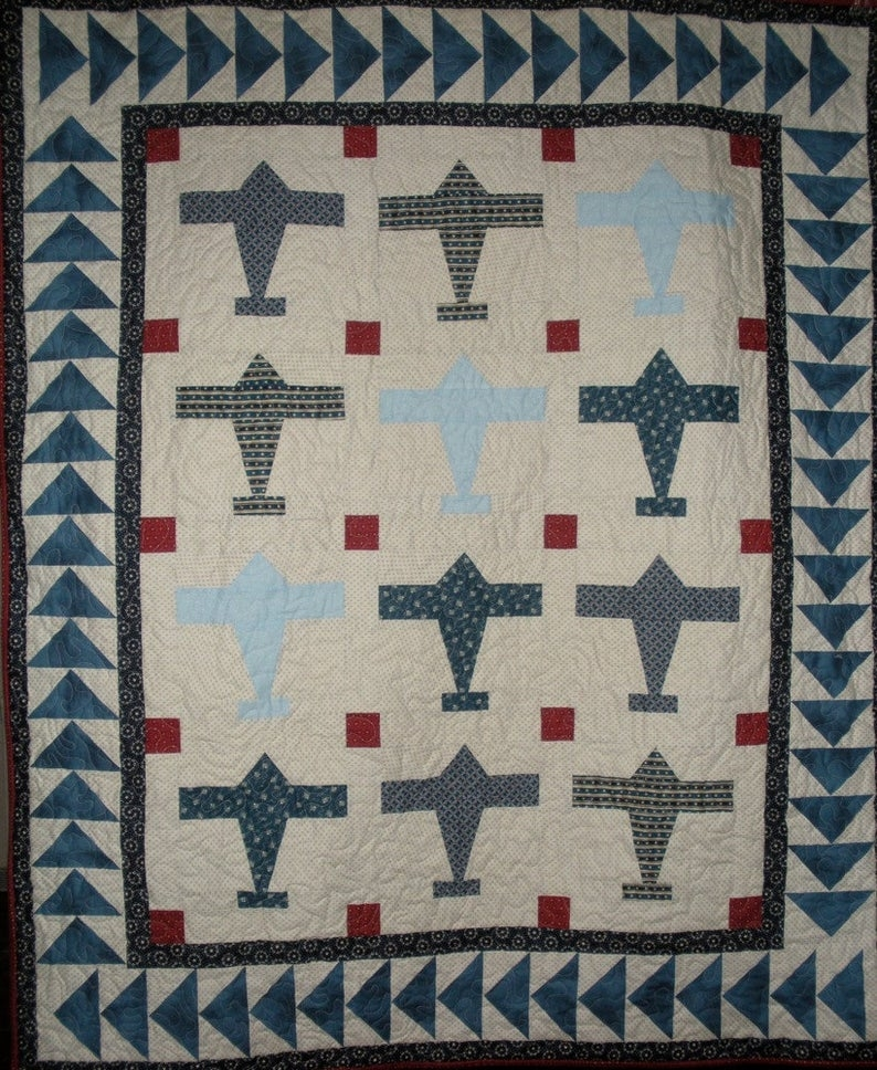 airplane quilt pattern digitial download Vintage Airplane Quilt Gallery