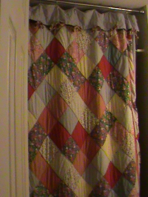 an old quilt that i used for a shower curtain Stylish Quilted Curtain Patterns