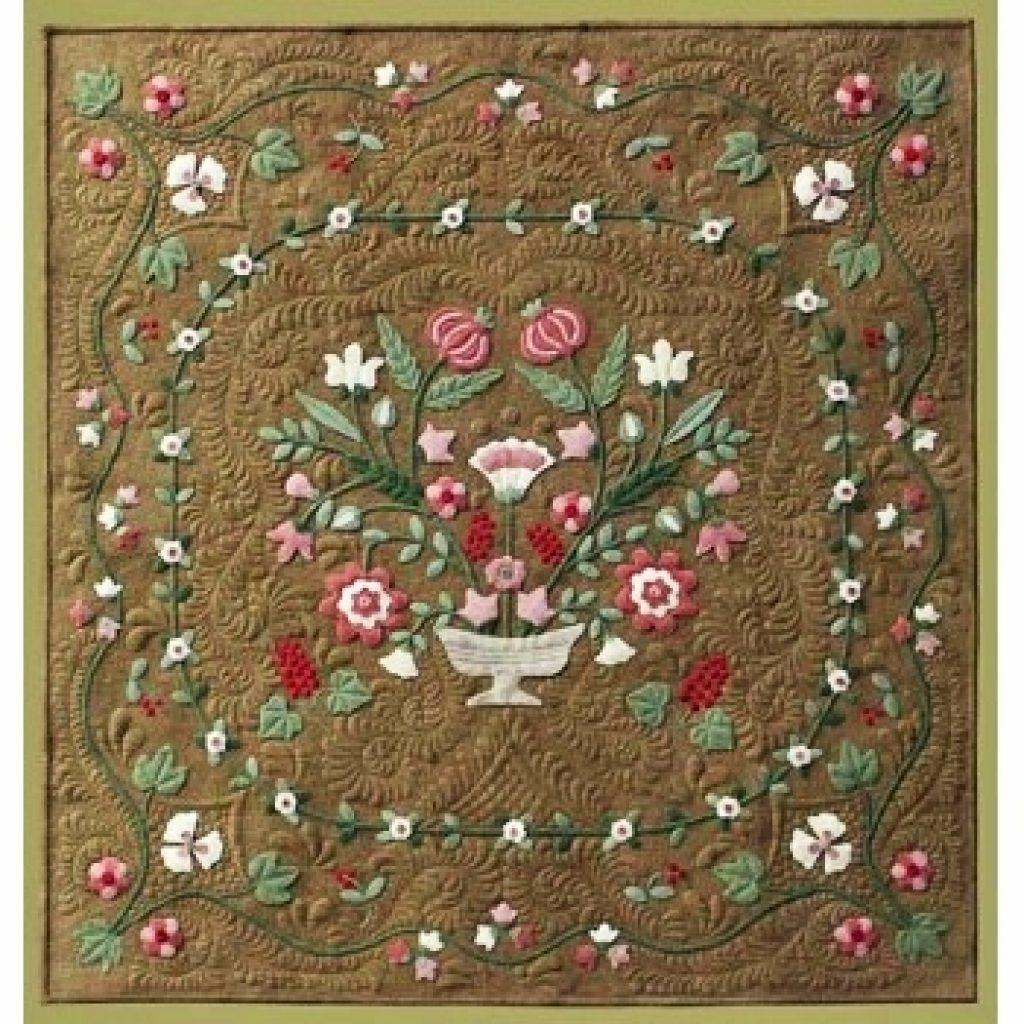 antique flower garden wool applique quilt pattern Interesting Wool Applique Quilt Patterns