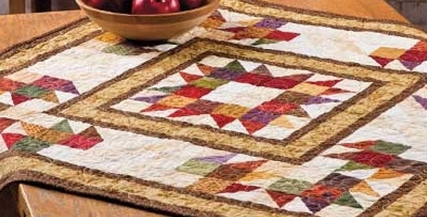 autumn themed table topper is super easy quilting digest Cool Quilted Table Topper Patterns Inspirations